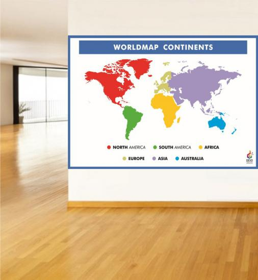 World Map Continents Poster - Kıtalar Poster